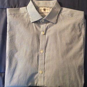 Black Brown Slim Fit Buttondown Shirt 16 32/33